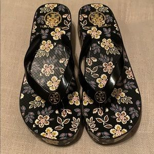 Tory Burch wedge flip flops size 9
